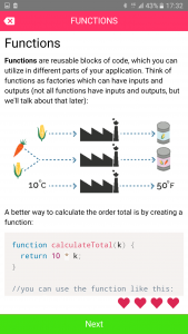 Codemurai mobile app to learn programming - JavaScript functions lesson
