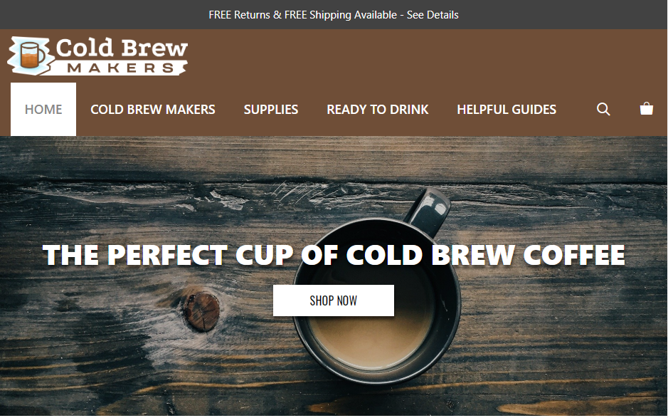 Screenshot of ColdBrewMakers.com for clients of Julian Perry