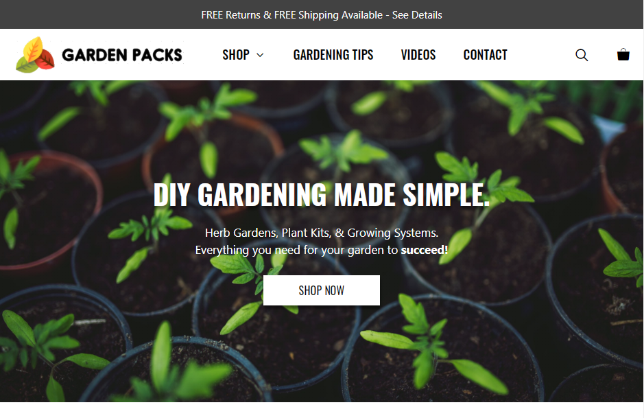 Screenshot of GardenPacks.com for clients of Julian Perry