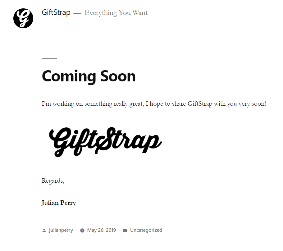 Screenshot of Giftstrap website by Julian Perry